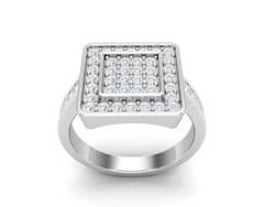 925 Sterling Silver Halo Cluster Wedding Ring