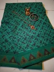 Block Printed Casual South Cotton Handloom Saree Without Blouse Piece