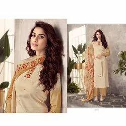 Straight Stitched Ladies Light Brown Cotton Suit, Machine wash