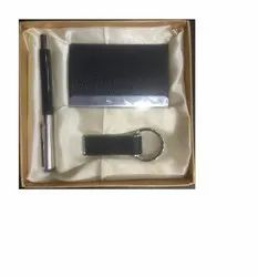 Leather Card Holder Key Ring Pen Set