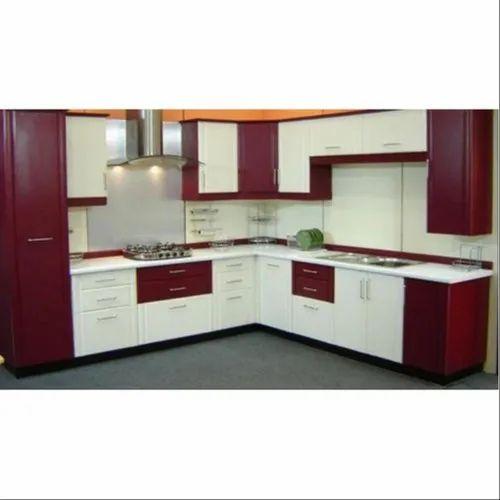 Designer L Shaped Modular Kitchen At Rs 2500 Square Feet: PVC L Shape Laminated Modular Kitchen, Kitchen Cabinets
