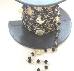 Black Onyx Coin Rosary Chain