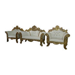 Wood 4 Seater White and Golden Color Sofa Set