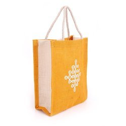 Orange Fancy Jute Printed Bag