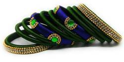 Blue And Green Silk Thread Bangle Set