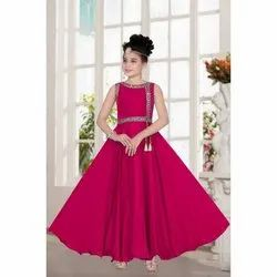 2b17e4ac62 Plain Satin Kids Girl Magenta Party Wear Gown, Size: 32, Rs 1000 ...