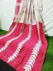 Girraj Printers Party Wear Block Printed Chanderi Silk Saree, 5.5 M (Separate Blouse Piece)