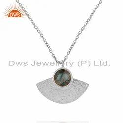Labradorite Designer Fine Silver Texture Chain Pendant Jewelry