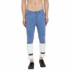 Slim Fit Men Blue Ombre Patched Denim