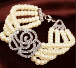Little Birdie Rhinestone Studded Rose & Pearl Bracelet