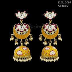 Traditional Meenakari Chand Bali with Hanging Pearl Jhumki Earrings