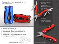 Mild Steel Red Folding Mini Pliers with Tools, Size: 6 Inch, Packaging Type: Polybag