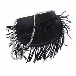 Black Genuine Leather Ladies Sling Bag