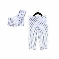 Cotton Casual Kids Crop Top With Pant Set