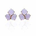 Trillion Gemstones Fancy Shape Hot Look Earring Gold Plated Ear Stud Freestyle Jewelry