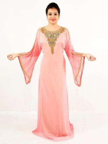 015c35055099 Georgette Round Neck Full Sleeves Dubai Kaftan, Rs 1650 /piece | ID ...
