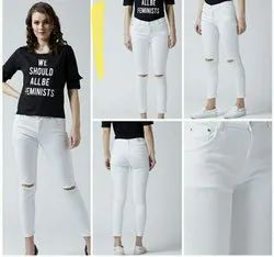 Mm-21 High Rise White funky ladies jeans
