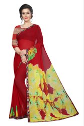 Ladies Casual Wear Printed Chiffon Saree