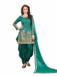 Pransul Fashion Pakistani Wedding Wear Real Mirror Work Taffeta Silk Patiyala Suit