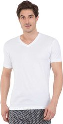 White Cotton White Cotton  V Neck T Shirt