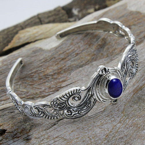 Handmade Lapis Lazuli Gemstone 925 Sterling Silver Cuff Bangle
