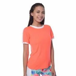 Cotton White Striped Neon Orange Tee