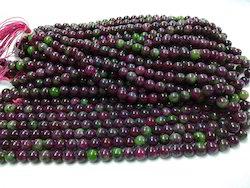 Ruby Zoisite Plain Round Beads