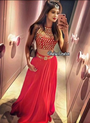 2b8fbeb6c4b New Designer Red Color Silk Embroidery Crop Top Lehenga Original Quality  For Wedding Party Festival