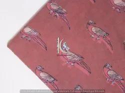 Brown Animal Bird Hand Block Dabu Print Fabric