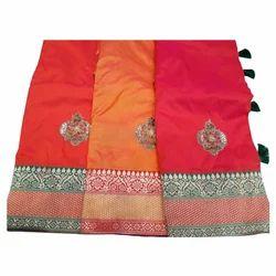 Party Wear Embroidered Silk Handwork Saree, 5.5 M (separate Blouse Piece)