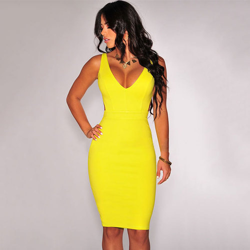 33125db528 Ladies Polyester Lemon Yellow One Piece Dress