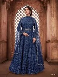 Traditional Heavy Net Designer Gown With Net Dupatta By Parvati Fabric