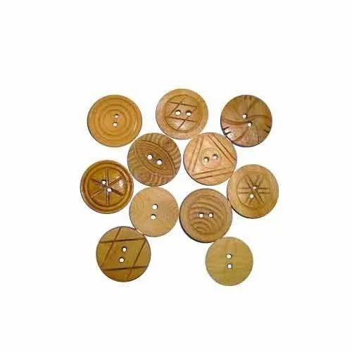 Wood Brown Antique Wooden Buttons