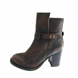 Casual Ladies Brown Long Leather Boot, Packaging Type: Box