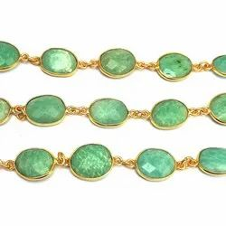 Amazonite Gemstone Gold Plated Bezel Connector Chain