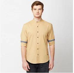 John Players Brown 01 Solid Slub Full Sleeve Trim Fit Shirt
