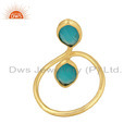 Marquise Shape Aqua Chalcedony Gold On Silver Ring