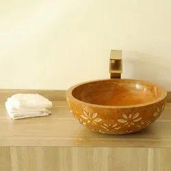 Capstona Floral Gold Marble Wash Basin
