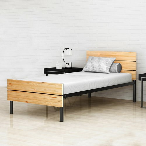 Wooden Twin Size Bed.Benne Twin Size Metal Bed With Solid Wood Foot Head Rest And With 5 Inch Foam Mattress