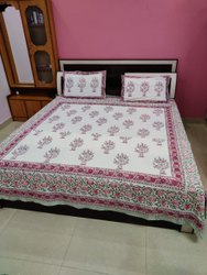 Mugal Buta Bagru Sanganeri Block Print Cotton Thick Fabric Bed sheet With Pillow Stander Size