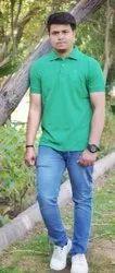 Green Mens Half Sleeves Casual T-Shirt
