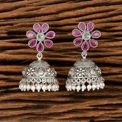 Brass Antique Matte Rhodium Jhumki Earring 202096
