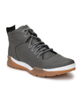 Leather Men Grey Casual Shoes