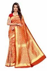 Red Banarasi Silk Weaving Work Saree,6.3M