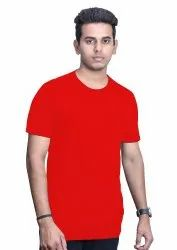 Red Plain Lycra Round Neck T Shirts
