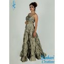 Ladies Grey Party Wear Western Gown, Size: S-xl
