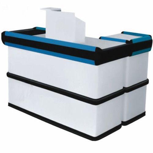 White Black And Blue Wooden Cash Desk Counter