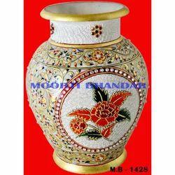 White Makrana Marble Flower Pot Handicraft