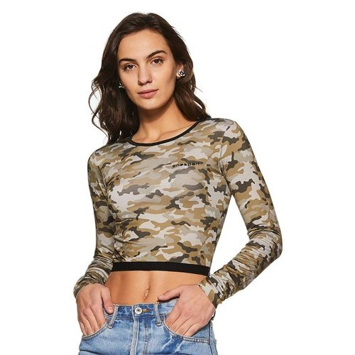 Onesport Polyester Spandex Jersey Sports Full Sleeve Slim Fit Printed Crop Top