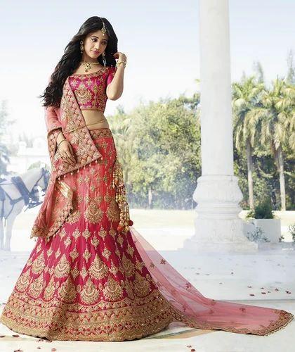 0431ef6d87 Pink Colour Satin Embroidery Full Heavy Work Lehenga Choli, Lehenga ...